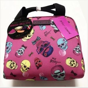 🆕 Betsey Johnson Skulls Insulated Lunch Tote Bag